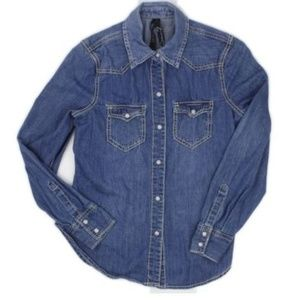 Blue Denim Pearl Snap Button Front Shirt